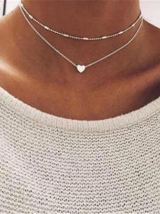 PMS Necklaces Silver / one size Simple Hearts Copper Multilayer Clavicle Necklace