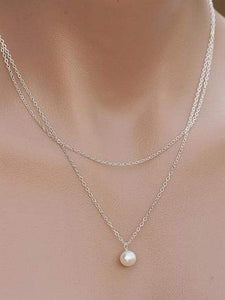 PMS Necklaces Silver / one size Two Pieces Faux Peral Necklace For Women