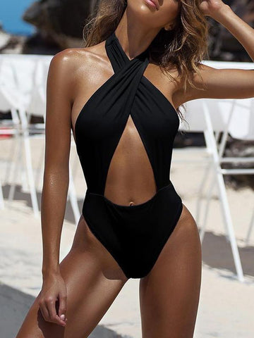 PMS One Piece Black / s 2019 Sexy Backless Bandage One-Piece