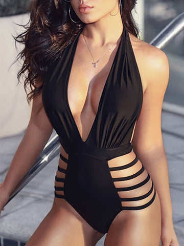 PMS One Piece Black / s Halter  Cutout  Plain One Piece