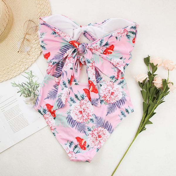 PMS One Piece Pink / s Sexy printing bikini one-piece swimsuit