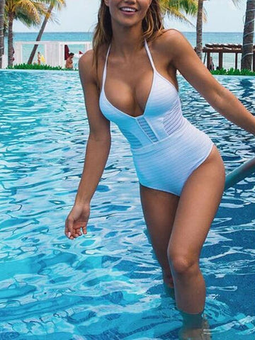 PMS One Piece White / s Halter  Plain One Piece