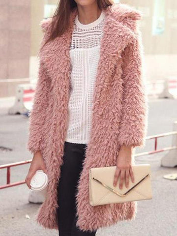 PMS Outerwear pink / s Mid-Length Lapel Furry Ladies Wool Outwear
