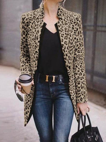 PMS Outerwear Same As Photo / xs Fashion Straight Collar Long Sleeve Leopard Print Suit Outerwear