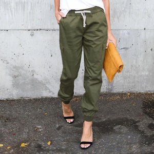 PMS Pants Army Green / s Casual Pure Color Elastic Waist Pants
