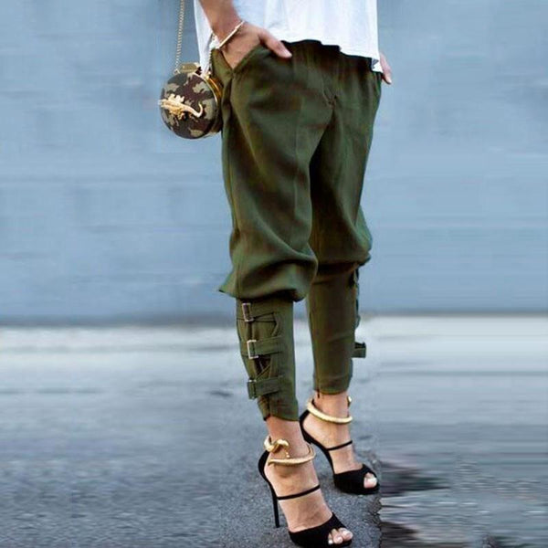 PMS Pants army_green / xl Pure Color Casual Strappy Trousers Pants
