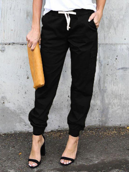 PMS Pants Black / s Casual Pure Color Elastic Waist Pants