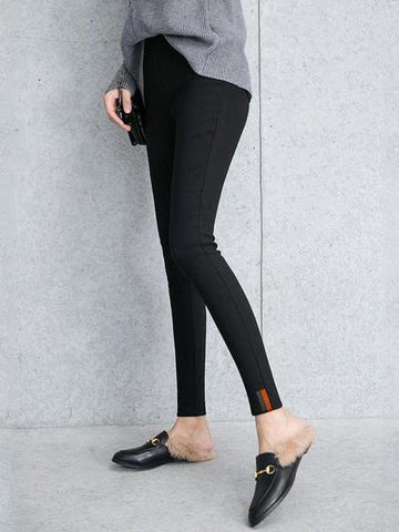 PMS Pants Black / s Fashion Slim Warm Cotton Stretch Tight Pants