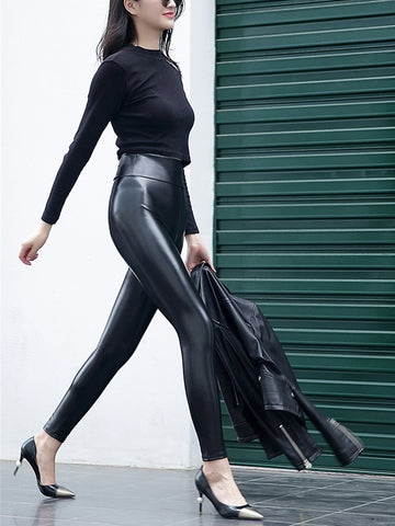 PMS Pants Black / s Sexy High Waist PU Bright Leather Underpants