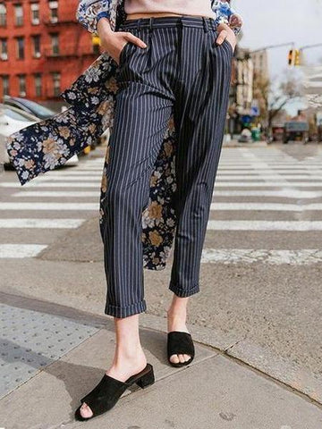 PMS Pants Blue / s Chic Casual Business Loose Strip Suit Long Pants