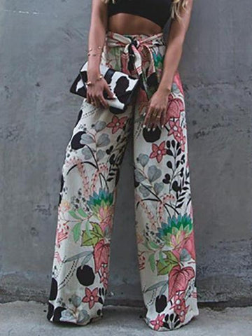 PMS Pants Detail / s Fashion Print Wide Leg   Elastic Waist  Pants
