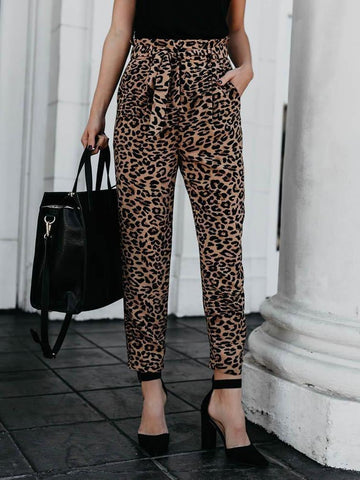 PMS Pants Leopard Print / s Casual Slim Show Thin   Leopard Print Straight Trousers Pencil Pants