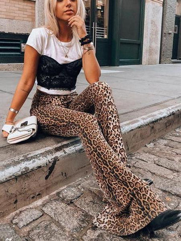 PMS Pants Leopard Print / s Stylish High-Waisted   Leopard Print Flared Trousers
