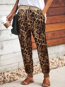 PMS Pants Same As Photo / S Casual Leopard Print Elastic Drawstring Waist Sport Pants