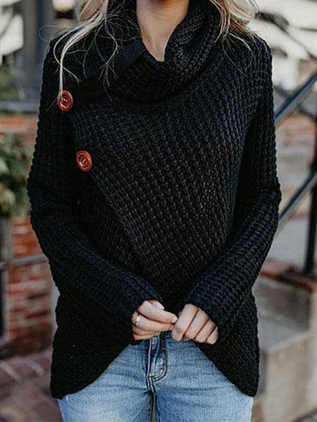 PMS Pullovers Black / s Asymmetric Neck  Asymmetric Hem  Plain Sweaters Pullover
