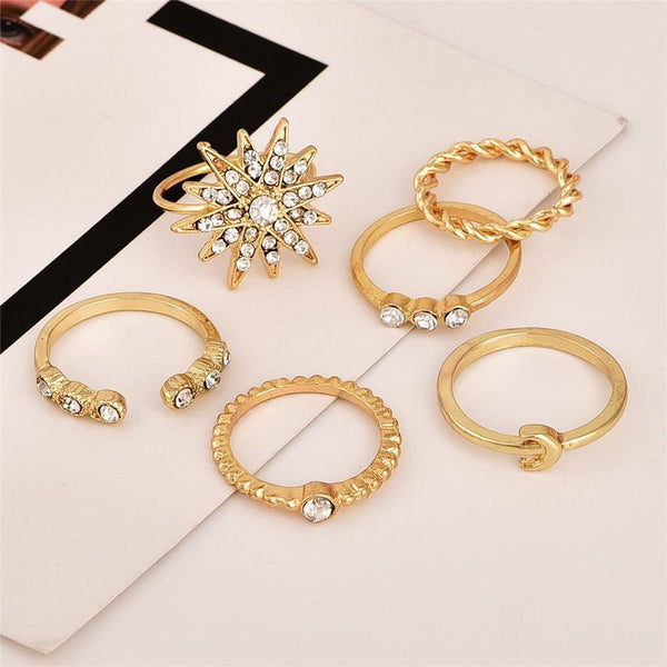 PMS Rings Gold / one size Popular personality stars moon ring set