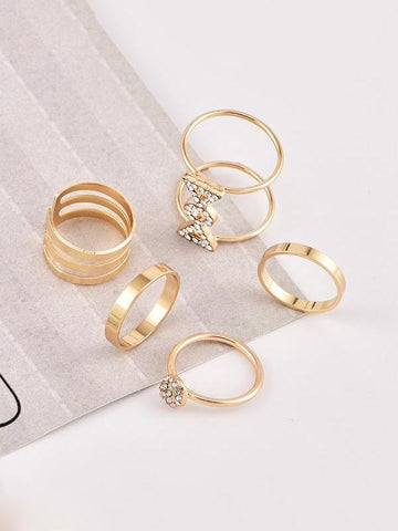 PMS Rings Gold / one size Women's   personality full diamond joint ring ring set suit fashion personality new   style