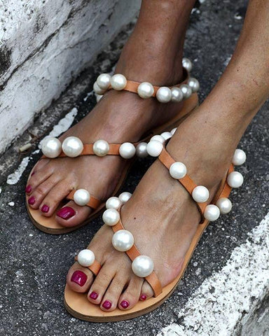 PMS Sandals Apricot / 34 Fashion Vintage Pearl Flat Sandals