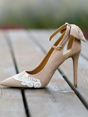 PMS Sandals Beige / 35 Fashion Lace   Pointed Bow High Heel Sandals