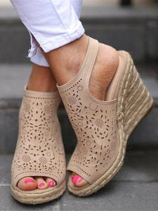 PMS Sandals Beige / 35 Vintage openwork carved wedge sandals