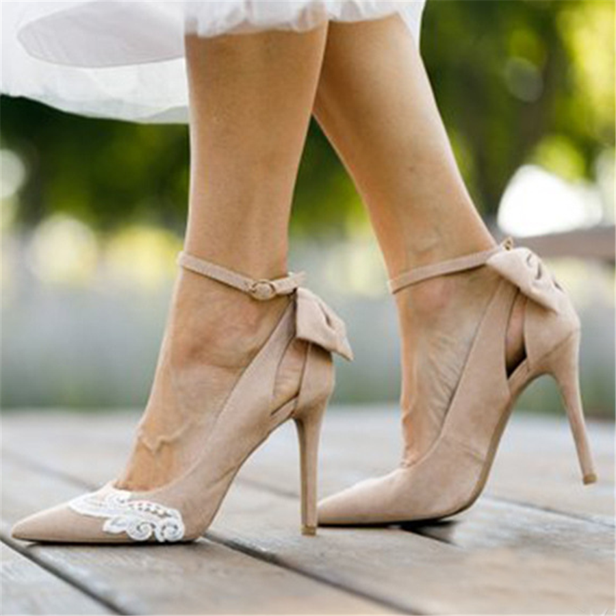 PMS Sandals Beige / 41 Fashion Lace   Pointed Bow High Heel Sandals