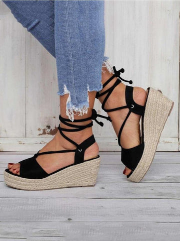 PMS Sandals Black / 34 Fashion Versatile Lace-Up Wedge Sandals