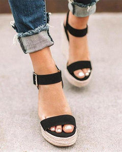 PMS Sandals Black / 35 Fashion Twine   Woven Wedge Sandals
