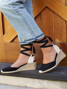 PMS Sandals Black / 35 Summer fashion wedge with high heel platform Baotou Large size bandage sandals