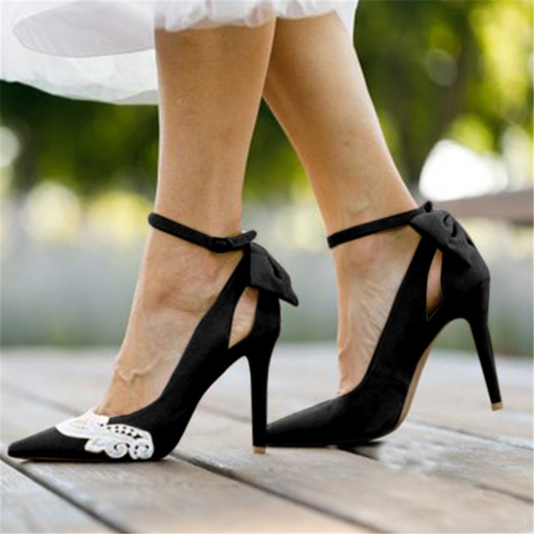 PMS Sandals Black / 41 Fashion Lace   Pointed Bow High Heel Sandals