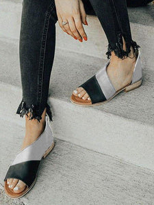 PMS Sandals Black-Gray / 35 Women Leather   Flat Heel Patchwork Sandals