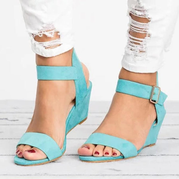 PMS Sandals blue / us5 Plain  High Heeled  Velvet  Ankle Strap  Peep Toe  Date Wedge Sandals