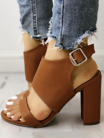 PMS Sandals Brown / 35 Solid Open Toe Buckled Chunky Heeled Sandals