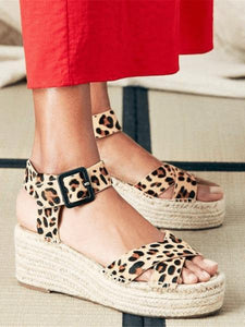 PMS Sandals Brown Leopard Print / 42 Fashion   Versatile Leopard Wedge Sandals