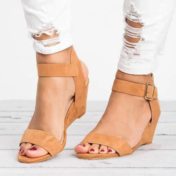 PMS Sandals camel / us5 Plain  High Heeled  Velvet  Ankle Strap  Peep Toe  Date Wedge Sandals