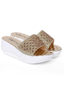 PMS Sandals gold / EU35 Solid Color Rhinestone Increase Platform Sandals Shoes