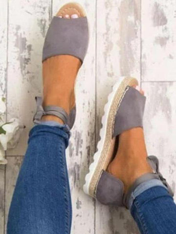 PMS Sandals Gray / us5 Platform Lace-Up Summer Sandals Shoes