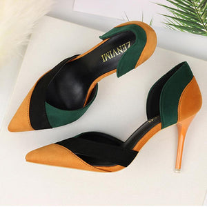PMS Sandals Green / 35 New Single Shoes Hollow Pointed Stiletto High Heel Sandals Women's Shoes