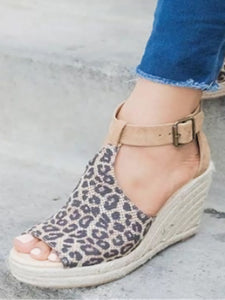 PMS Sandals Leopard Print / 35 Fashion versatile leopard wedge sandals