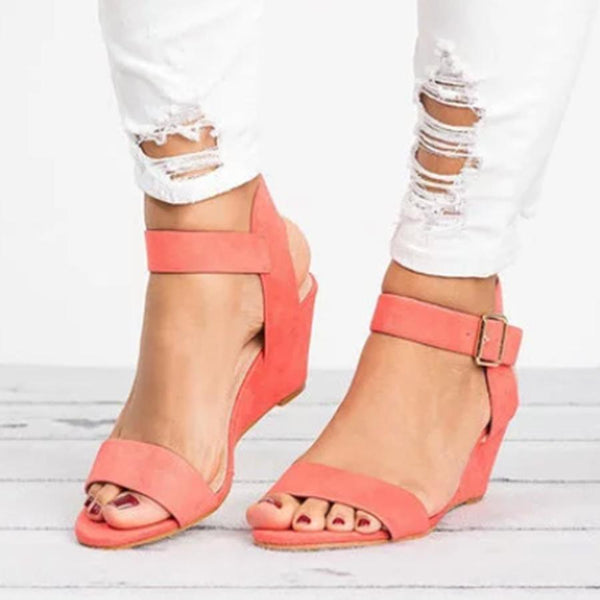 PMS Sandals nude_pink / us5 Plain  High Heeled  Velvet  Ankle Strap  Peep Toe  Date Wedge Sandals