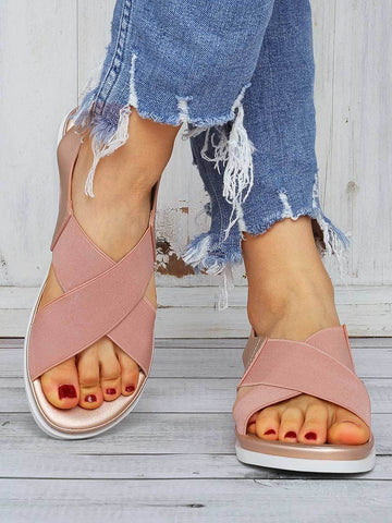 PMS Sandals Pink / 36 Fashion Casual Cross Elastic Sandals