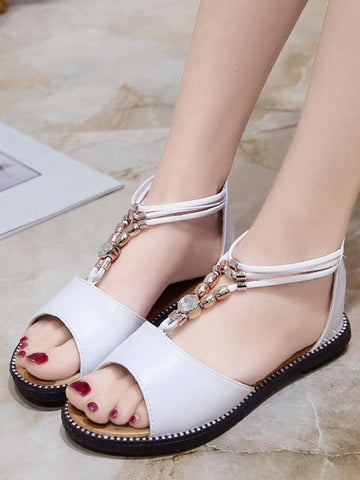PMS Sandals white / 35 Beaded Rhinestone Flat Bottom Roman Shoes With Female Sandals