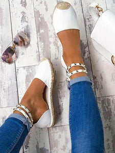 PMS Sandals White / 35 Fashion Rivet Beach Flat Sandals