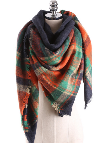 PMS Scarfs 1 / one size British Plaid Contrast Color Cashmere Large Square