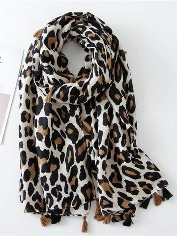 PMS Scarfs Beige / one size Fashion   Cotton Linen Leopard Scarf Long Paragraph Wild Ladies Scarf Dual-Use Shawl