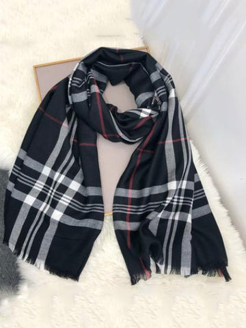 PMS Scarfs Black / one size British Plaid Cotton Imitation Cashmere Scarf