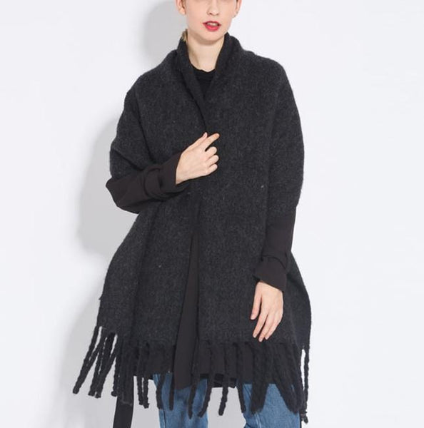 PMS Scarfs Black / one size Fashion casual   Imitation cashmere Plaid  scarf  Tassels Knitted scarf
