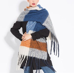 PMS Scarfs Blue / one size Fashion casual   Imitation cashmere Plaid  scarf  Tassels Knitted scarf