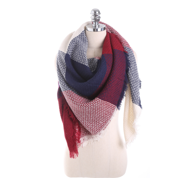 PMS Scarfs Claret / one size Imitation Cashmere Color Matching Scarf