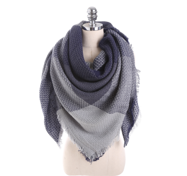 PMS Scarfs Dark Blue / one size Imitation Cashmere Color Matching Scarf