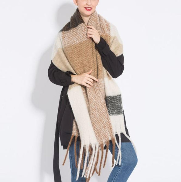 PMS Scarfs Gray / one size Fashion casual   Imitation cashmere Plaid  scarf  Tassels Knitted scarf